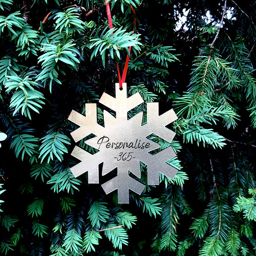 Snowflake Christmas Tree Ornament in Gold/Silver/Clear Acrylic