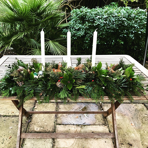 Large Real Foliage Xmas Table or Mantlepiece Decoration