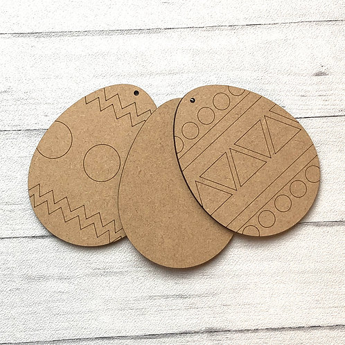 Easter Egg Craft Shapes x 3 Made from Wood