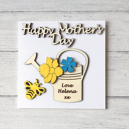 Mother's Day personalised keepsake card wooden Hand Painted