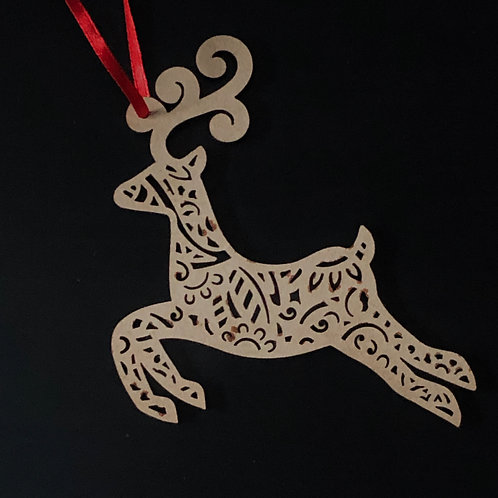 Christmas bauble reindeer x 6 MDF plain ready to decorate