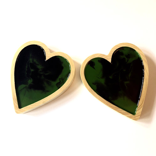 Walnut log slice heart shaped filled with green & purple resin