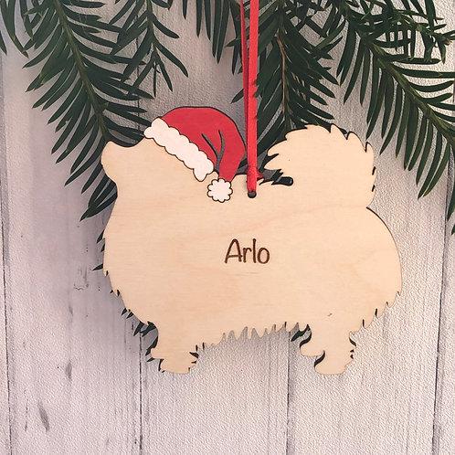 Pomeranian Pet Dog Wood Christmas Tree Decorations