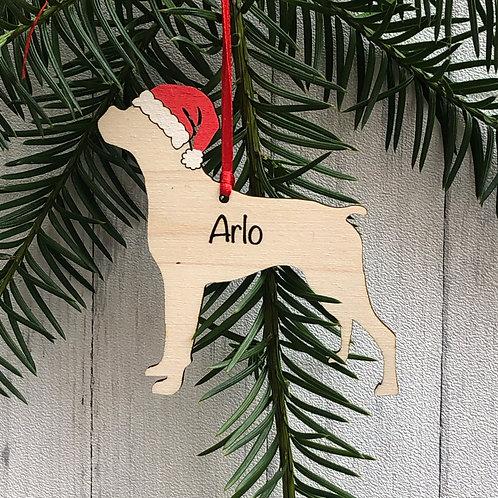 Boxer Pet Dog Wood Christmas Tree Decorations