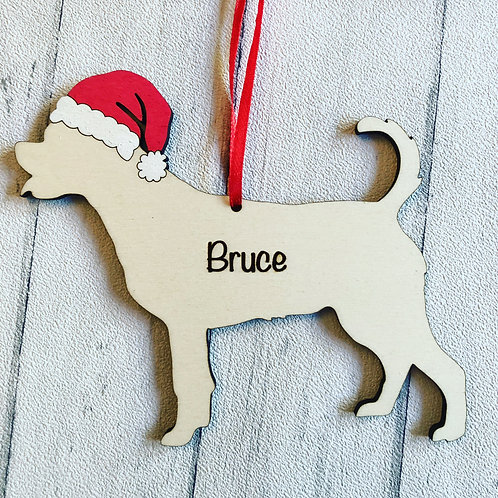 Rottweiler Wood Christmas Tree Decorations Personalised