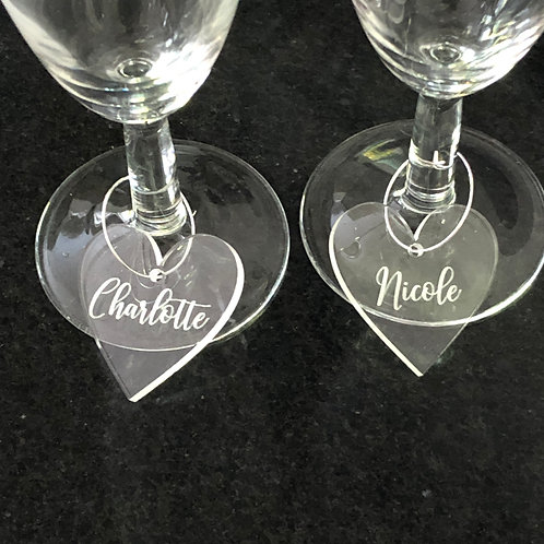 Clear acrylic wine charms engraved