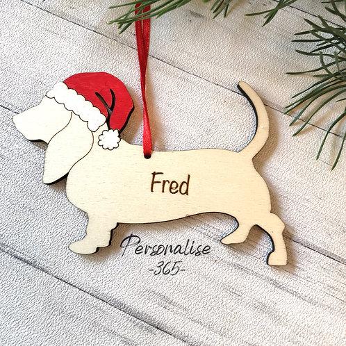 Basset Hound Wood Christmas Tree Decorations