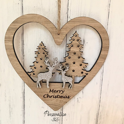 Oak Heart Hanging Decoration wall plaque personalised