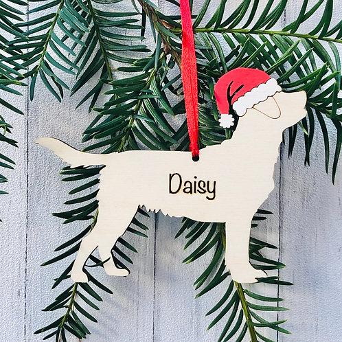 Labrador Wood Christmas Tree Decorations