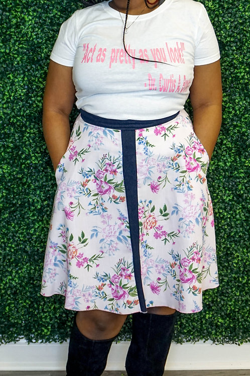 The Ashlynne- Ski Skirt Cotton with Denim Band