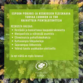 Espoon Keskusta: Pohjois- ja Keski-Espoon yleiskaava turvaa luonnon ja tuo kaivattuja pientalotontteja
