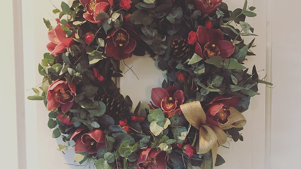 Orchid Winter Wishes Wreath