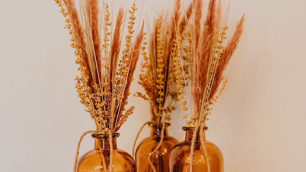 Dried Flower Bunch & Amber Glass Bottle