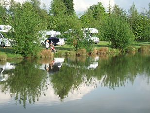 Westerly Lake Fishing and Caravan Park lakeside pitches.