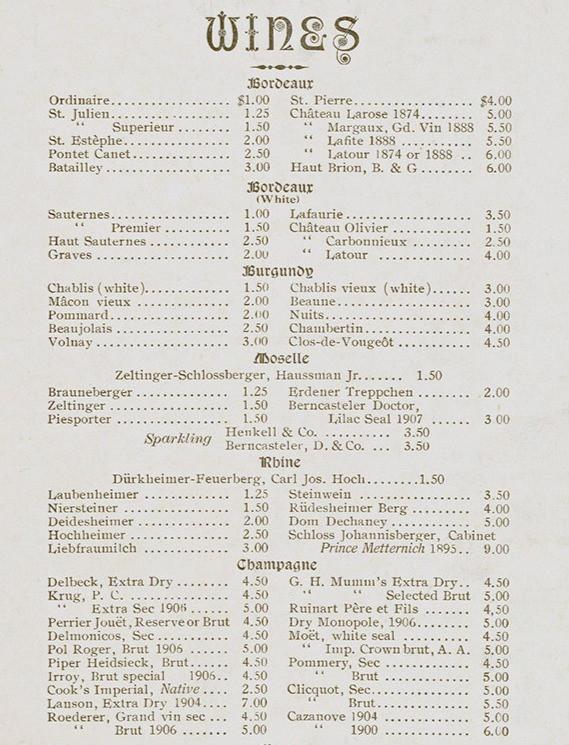 Delmonico's Wine List, New York Restaurant between 1900-1914