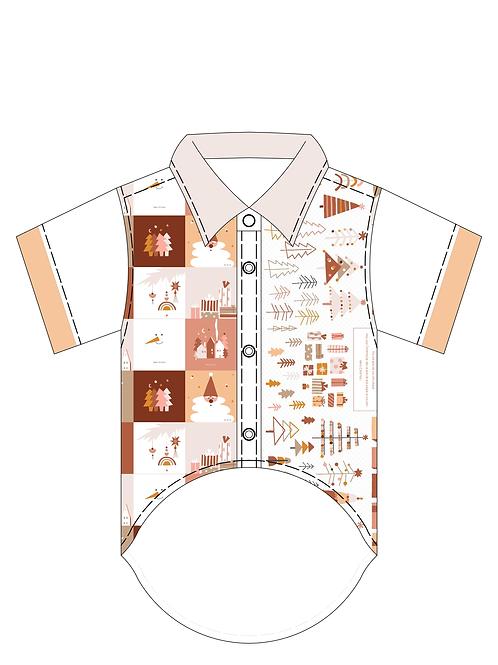 ชุด Kit ตัดเย็บเสื้อเชิ้ต Xmas Lovely Brown