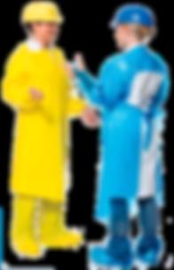 mandil completo calado - azul y amarillo