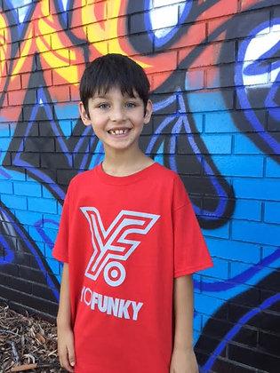 Red Kids Striped Yo Funky Logo