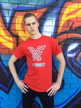 Red Adults Striped Yo Funky Logo