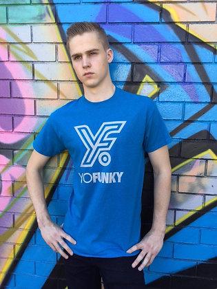 Blue Adults Striped Yo Funky Logo
