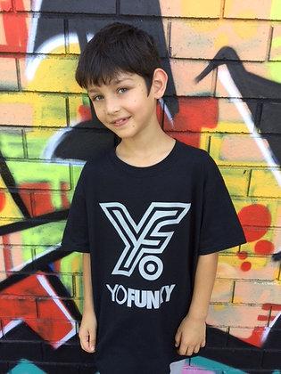 Black Kids Striped Yo Funky Logo