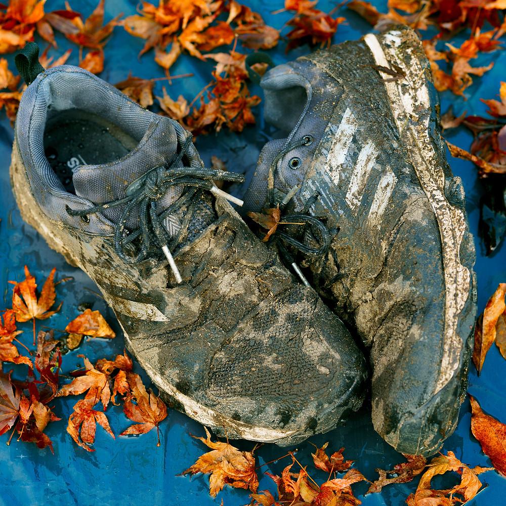 Portrait of my trusty Adidas Galaxy Trail running shoes