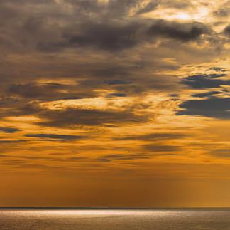 Fiery orange sky over the Caribbean Sea