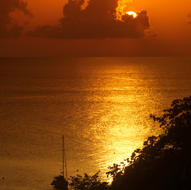 Fiery sunset from Firefly Mustique