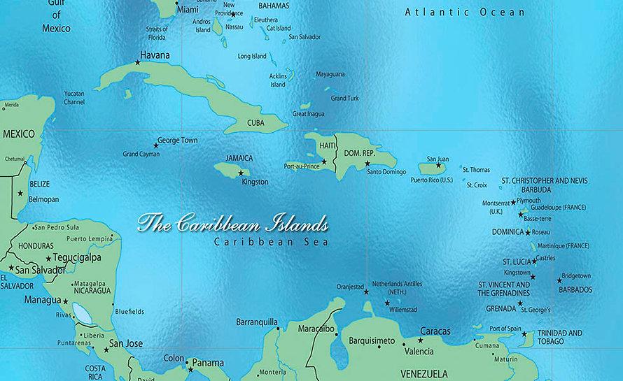 The Caribbean Islands Map
