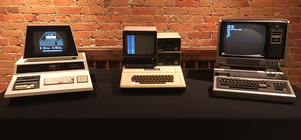 "The three computers Byte magazine referred to as the ""1977 Trinity."" From left to right: The Commodore PET 2001, the Apple II, and the TRS-80 Model 1."