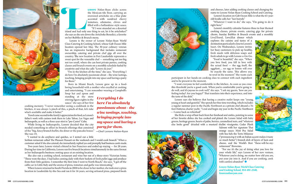 Screenshot of the article in City & Shore magazine about Lenore's catering and foodie events