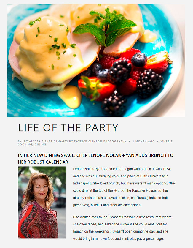 Life Of The Party article about Lenore's catering in Fort Lauderdale