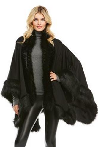 Black Faux Fur Trimmed Wrap