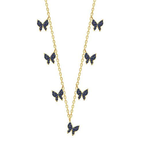 Kaleidoscope Butterfly Necklace Blue