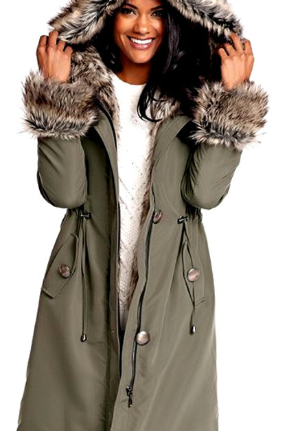 Olive Hooded Faux Fur-Lined Knee-Length Coat
