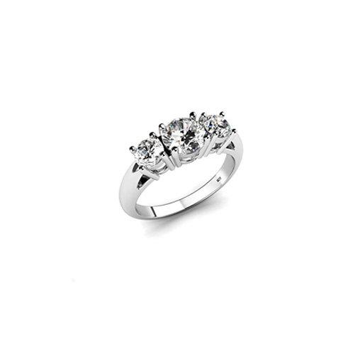 3 CZ stones ring