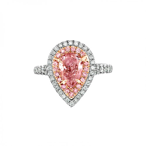 Pink Pear CZ Ring With Halo