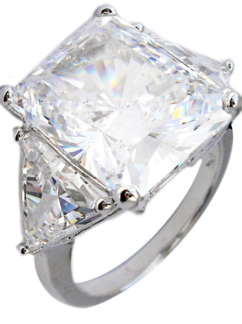15ct Brilliant Cut CZ Ring with Trillions