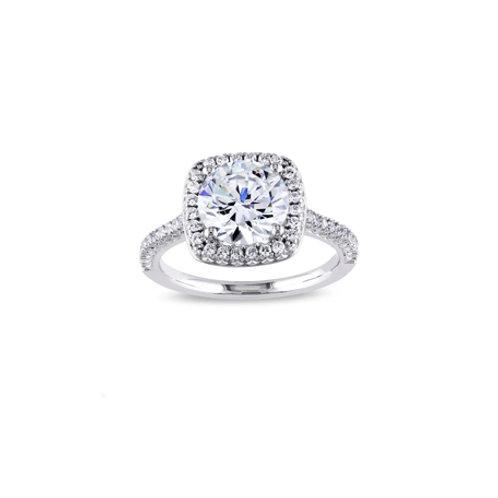 Clear Cushion Cut Engagement Ring
