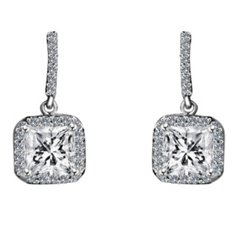 Princess Cut CZ Drop Earrings