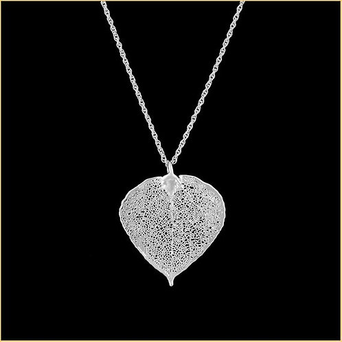 Real Aspen Leaf Necklace Silver