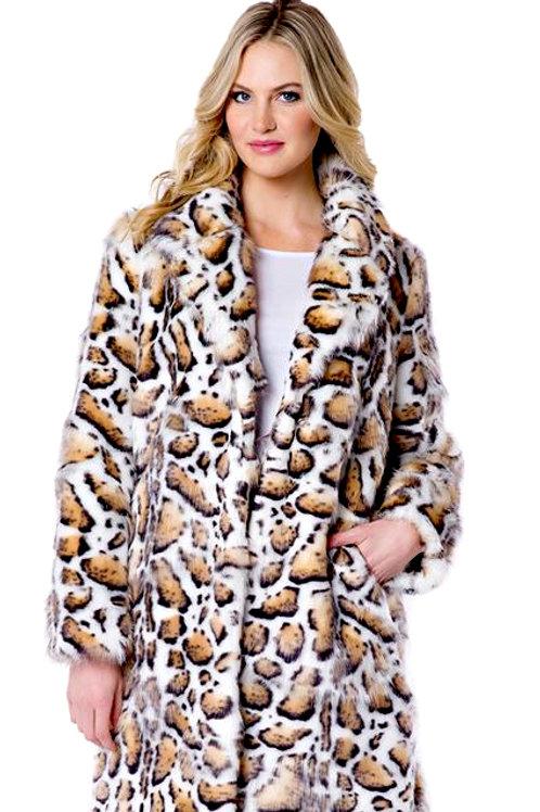 Clouded Leopard Notch Collar Faux Fur Knee-Length Coat