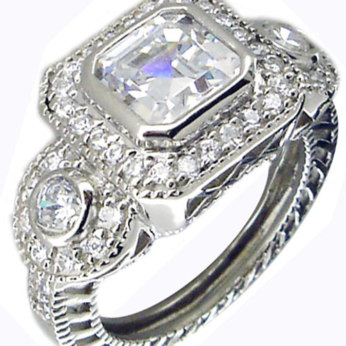 Square and Round CZ Ring with Halo