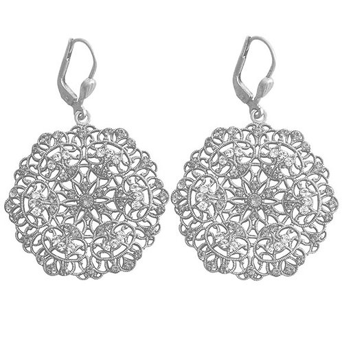 Filigree and Austrian Crystal Earring