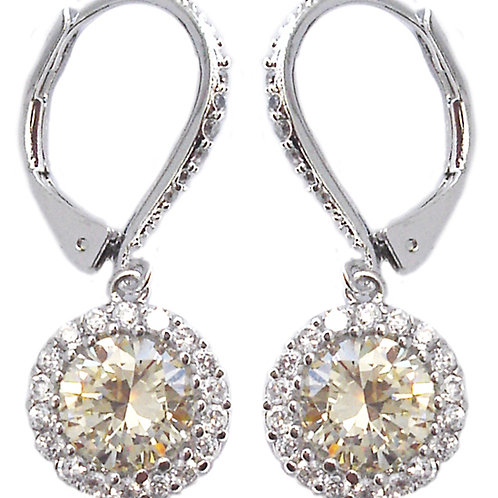 Halo CZ Dangle Earrings