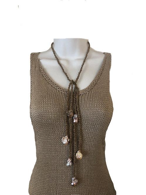Allegra Dark Linen Mauve Pearls
