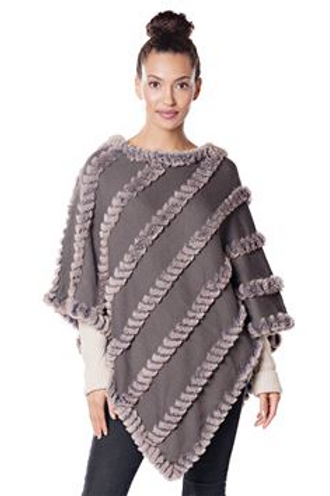Taupe Knitted Faux Fur Poncho