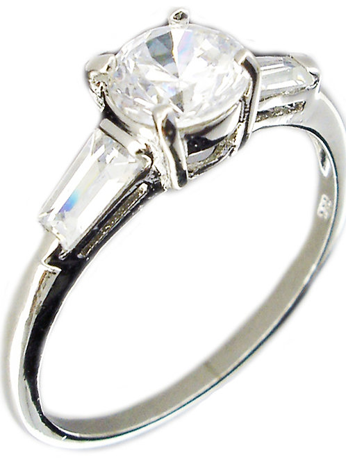 3ct Round CZ Ring with Baguettes