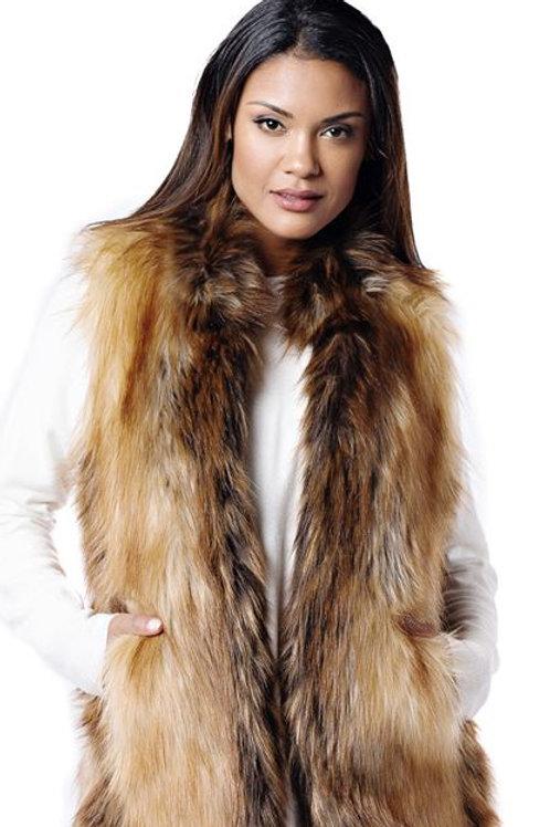 Red Fox Faux Fur Hook Vest