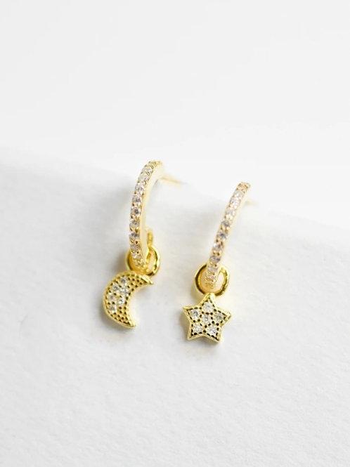 Moon/Star Dangle Earrings